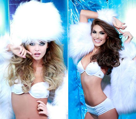 A magyar lány és a venezuelai versenyző glamour fotózásának egy-egy végeredménye.