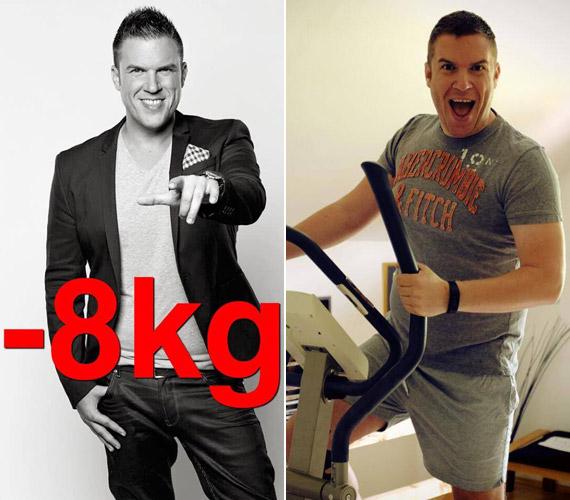 """""""Sikerült!!!"""" - posztolta a bal oldali kép mellé Kasza Tibi, aki július 12-én kezdett edzeni, hogy megszabaduljon a jobb oldali képen látható pocakjától."""