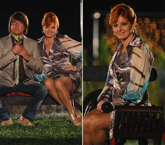 A műsorban szívesen bújik különleges megoldású, mély dekoltázsú ruhákba. Ez a selyem darab különösen jól illet hozzá.