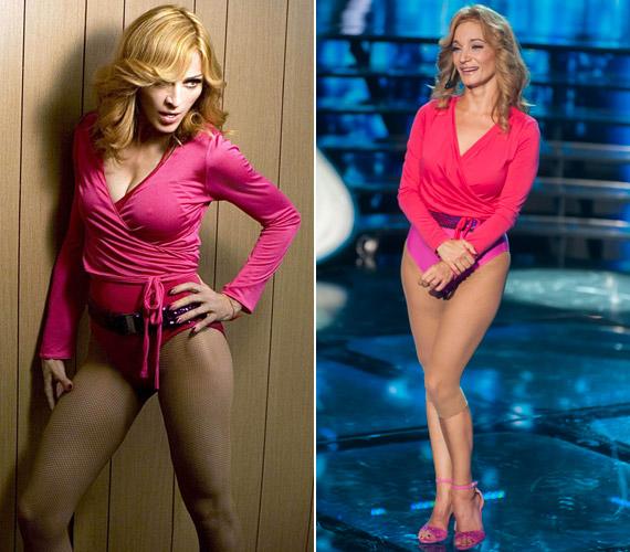 Madonna - bal oldalon - 47 éves volt, amikor megjelent a Hung up című dal és a hozzá készült videoklip. Keresztes Ildikónak - jobb oldalon - nem kell a világsztár mögött elbújnia, 50 évesen kirobbanó formában van.