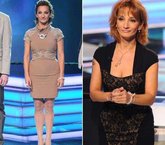 Látványos a különbség: míg a homokszínű darab előnytelenül kiemelte az énekesnő pocakját, a fekete ápolt és eltakart.