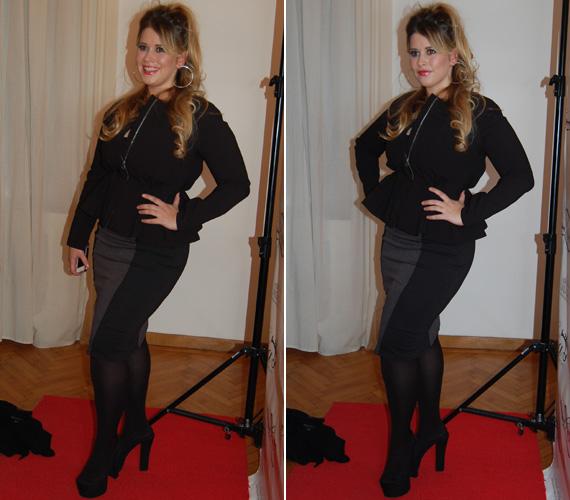 Tóth Gyöngyvér divattervező kifejezetten neki álmodta meg ezt a visszafogott, mégis elegáns, a nőiességét kihangsúlyozó ruhát.