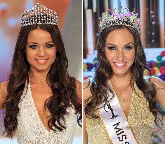 Tegnap este a 21 éves Kiss Daniella fejére került a Magyarország Szépe - Miss World Hungary - koronája. Június 6-án Nagy Nikoletta lett a 2015-ös Miss Universe Hungary - jobb oldali fotó.