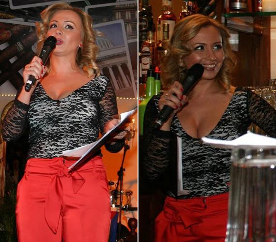 A TV2 műsorvezetője piros nadrágjával és mélyen dekoltált csipkefelsőjében vonta magára a figyelmet.