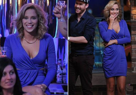 Kiss Ramóna a Gyertek át szombat este! legelső adásában szexi dekoltázsával nyűgözte le csapattársait, a műsorvezetőt és a nézőket.