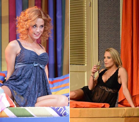 Kiss Ramóna nemcsak a Grease-ben néz ki fantasztikusan, hanem két korábban bemutatott darabjában, az Estére szabad a kecóban - jobb oldali kép - és a Poligamyban - bal oldali kép - is. A gyönyörű színésznő ugyanis mindkettőben fehérneműre vetkőzik.