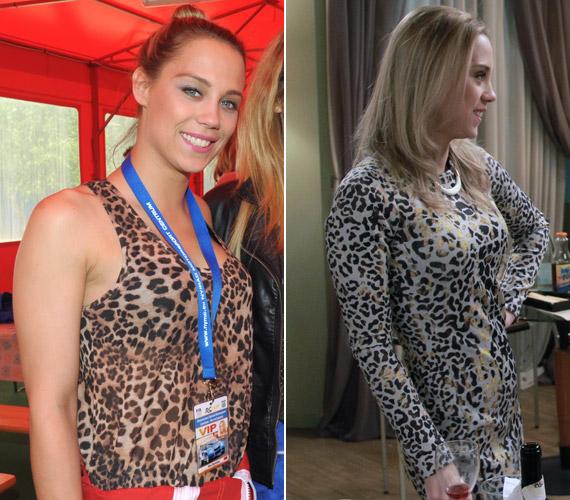 Kiss Ramóna egy hétköznap hordható felsőben és egy elegánsabb, aranyosan csillogó leopárdmintás ruhában.