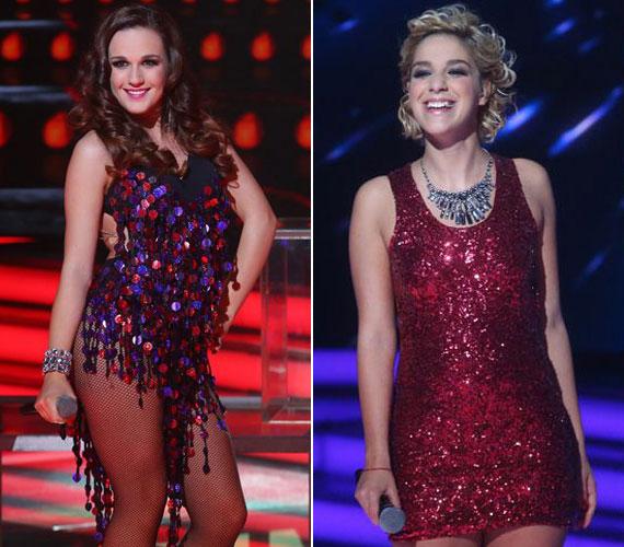 Az X-Faktor két, kezdetben szolidan öltözködő énekesnője, Péterffy Lili és Danics Dóra is egy-egy csillogó, igencsak rövid ruhadarabbal nyűgözte le a közönséget.