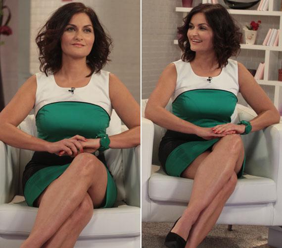 A Barátok közt színésznője, Varga Izabella az M1 délutáni talkshow-jának vendégeként volt látható ebben a zöld-fehér-fekete trikolor ruhában.