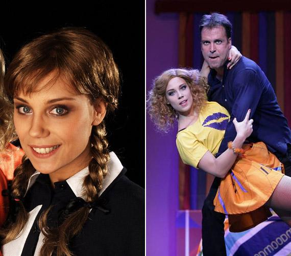 Színházban is játszik: a bal oldali képen az Abigél Torma Piroskájaként, a jobb oldalin pedig mint a Poligamy egyik Lillája.