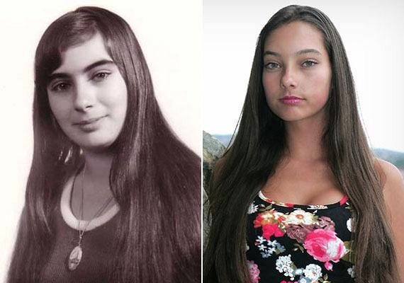 A bal oldali fotón Kiszel Tünde 14 évesen, a jobb oldalin gyermeke, Donatella 15 évesen látható. A vékony, magas leányzó nemcsak édesanyja naptáraiban szerepel, de egyre keresettebb modell is.
