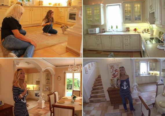 A földszinten kapott helyet a nappali-étkező-konyha hármasa - utóbbi helyiség sok háziasszony álma, ám Deme Zsóka csak hétvégente szokott benne főzni.
