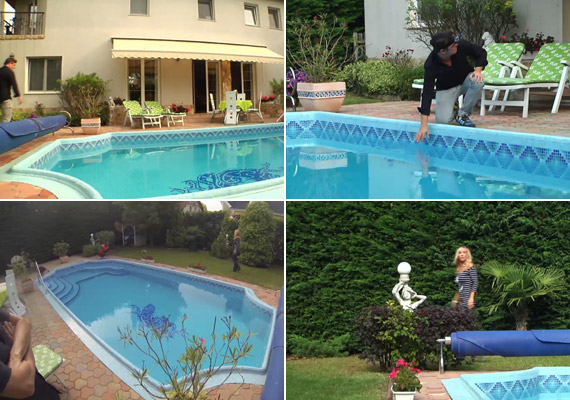 A szobrokkal díszített kert és a medence az a hely, ahonnan Meckyt nyáron legfeljebb a Balaton partjára lehet elcsábítani - ilyen környezetben nem csoda, ha sok időt tölt otthon.
