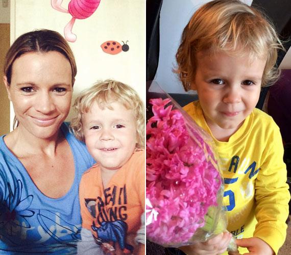 Egy június 4-i szelfi az akkor kereken három éves Dominkkal, aki anyák napjakor jácint csokorral köszöntötte édesanyját.