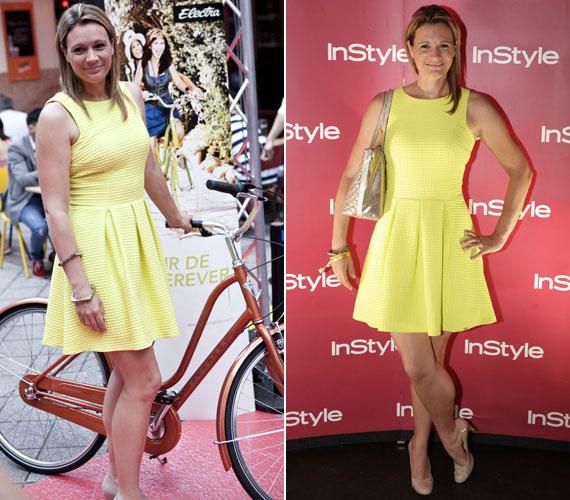 InStyle magazin május 23-án megrendezett 5. születésnapi partiján ebben a citromsárga ruhában pattant biciklire, majd pózolt a fotósoknak - nem győzték dicsérni.