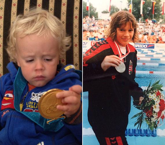 """""""Életem két legnagyobb büszkesége: Dominik és az olimpiai aranyérem"""" - írta Kovács Ági a bal oldali fotóhoz. Jobb oldalon az úszónő 14 éves, élete első felnőtt világversenyén Bécsben, 1995-ben."""
