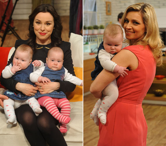 A két cuki kislány mindenkit lenyűgözött a Család-barát stúdiójában, Novodomszky Éva még ölbe is kapta egyiküket.