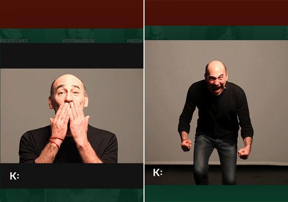 Kulka János a Katona József Színház gif-színházában nemcsak részegen dülöngél, de puszit is dob, vagy éppen hisztizik.