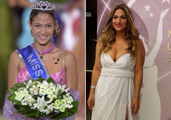 Laky Zsuzsi 2003-ban, amikor Európa szépe lett, és szombat este a Miss Universe Hungary döntőjén, egy Benes Anita által tervezett, merészen dekoltált, hófehér ruhában.