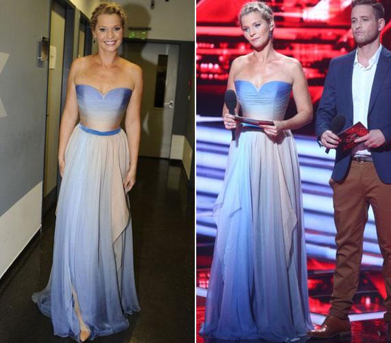 """""""Csodás ruha és nagyon jól állt neki"""" - ezen a véleményen voltak a szombati élő show nézői, amikor Lilu megjelent a fehér-kék átmenetes Daalarna estélyiben."""