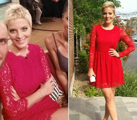 Tatár Csilla, a Mokka műsorvezetője számára is kitűnő választás a piros, nőies alakjához pedig remekül illik a csipke.