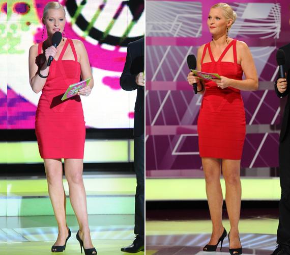 Lilu jobb formában van, mint valaha: testhez simuló, piros miniruhája remekül mutatott karcsú alakján.