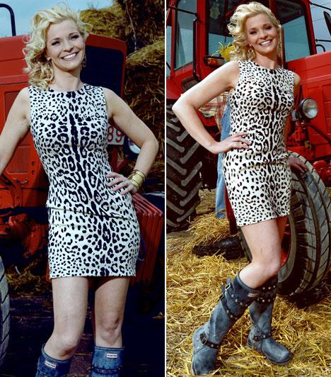 Házasodna a Gazda  Az RTL Klub feleségkereső műsorában még traktorra is pattant, igaz, a kék gumicsizmához nem egy szokványos ruhát húzott a fotózáshoz.