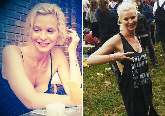 Lilu, az RTl Klub csinos, szőke műsorvezetője a Glastonburyi Fesztiválon olyan, mint bárki: smink nélkül, laza ruhában csápol a színpad előtt.