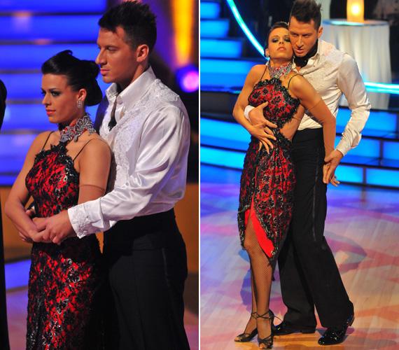 Mármarosi Tünde szintén pirosban táncolt: Vastag Csaba partnerének ruháját a csipkerátét tette különlegessé.