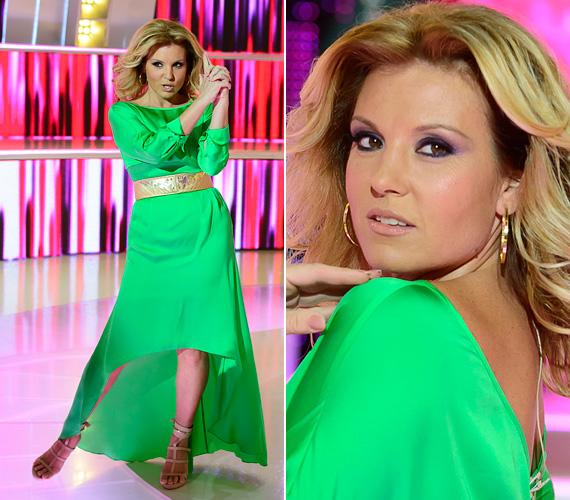 Ezt a fénylő zöld ruhát Liptai Claudia A Nagy Duett harmadik adásában viselte, ez volt a legemlékezetesebb ruhadarab, amit láttunk rajta. A hetvenes évek hollywoodi csillogását megidéző ruha és a Charlie angyalait idéző loknik egyaránt remekül álltak a műsorvezetőnek.