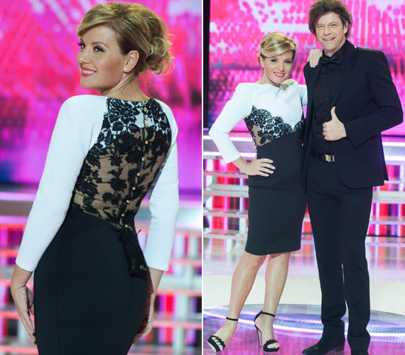 Ugyancsak a Maison Marquise tervezőnőjét dicséri ez a kifejezetten a műsorvezetőnek készített, fekete csipkével megbolondított, fekete-fehér, testhezálló ruha - szintén a 2014-es A Nagy Duettből.