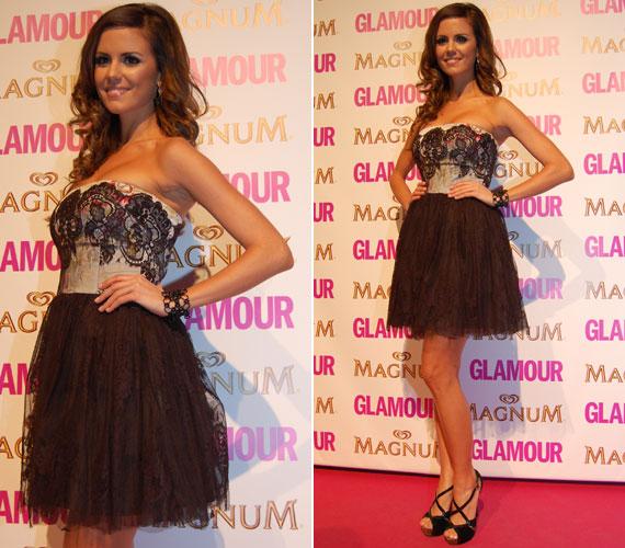Konkoly Ágnes, a Miss Universe Hungary 2012 győztese egy fekete-fehér csipkeruhába bújt az ötödik alkalommal megrendezett Glamour-gálára.