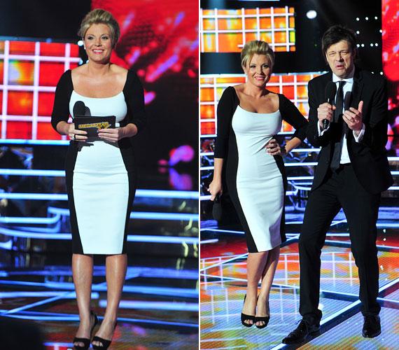Rafinált szabású fekete-fehér ruhájában nőies és elegáns volt a legutóbbi élő show-n.