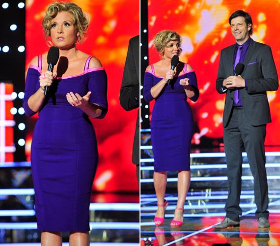 Liptai Claudia összeöltözött műsorvezető párjával, Till Attilával. A sötétlila, térdig érő, testhezálló ruha karcsúsította, de egyben előnyösen meg is mutatta nőies domborulatait.