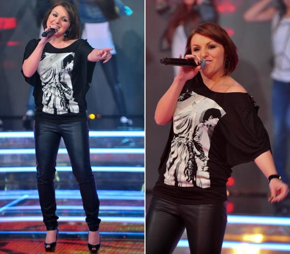 A színpad legdögösebb nője címet a legutóbbi adásban egyértelműen Szakos Andrea érdemelte ki - először egy feszes bőrnadrágban, valamint egy ahhoz illő laza pólóban.