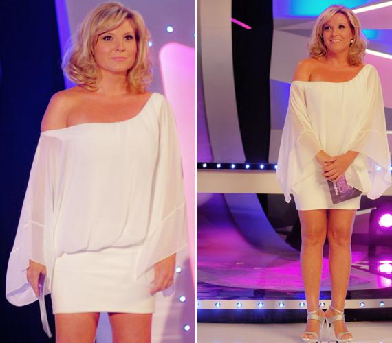 Igazán jól állt Liptai Claudiának az aszimmetrikus, fehér ruha.