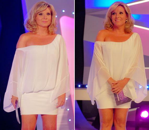 Ez az ejtett vállú, fehér ruha, amelyben a a második adásában lépett a kamerák elé nagyon hasonló a pink és a zöld kreációhoz.