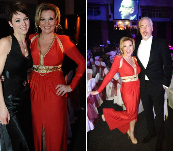 A műsorvezető a Győri Médiabálon is a Maison Marquise egyik kreációjában, egy piros Fabergé estélyiben jelent meg.