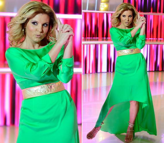 Liptai Claudia a harmadik adásban divatos színű, neonzöld ruhában Charlie egyik angyalának bőrébe bújt. Valóban úgy nézett ki, mint egy hollywoodi sztár.