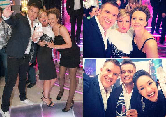 A Nagy Duett női műsorvezetője Kasza Tibivel és Pokorny Liával is beállt egy önfotózásra.