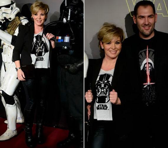 Liptai Claudia skinny nadrágban és Darth Vader fejével a pólóján érkezett a Star Wars: Az ébredő Erő premierjére, ahova szerelme, Pataki Ádám cukrászmester is elkísérte.