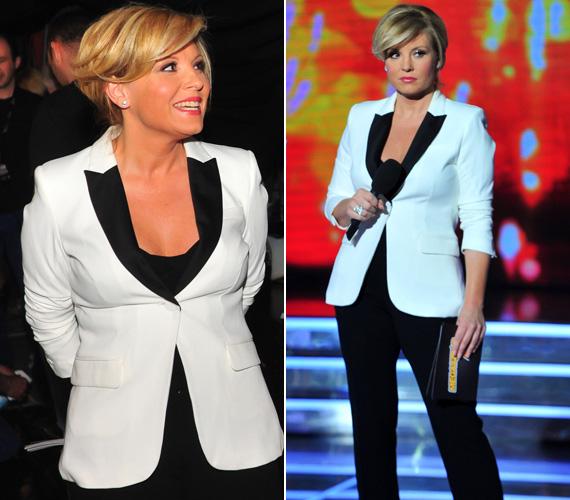 A rosszmájú bulvárlap azt állítja, az első élő döntőben azért adtak rá egy fekete-fehér kosztümöt, hogy leplezzék a súlygyarapodást.