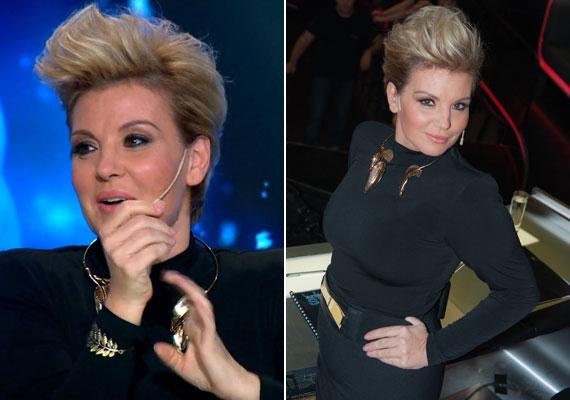 Liptai Claudia a Sztárban sztár október 25-i adásában egy testhezálló, fekete ruhát viselt vagány, szélfútta hatású frizurával.