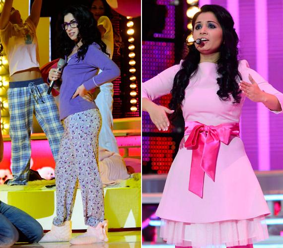 Radics Gigi lila pizsamában, Nótár Mary rózsaszín Barbie-ként volt látható A Nagy Duett harmadik adásában.