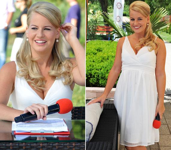 Amikor ezt a lenge fehér ruhát viselte, sok szem szegeződött a Balatoni Nyár szőke műsorvezetőjének dekoltázsára.