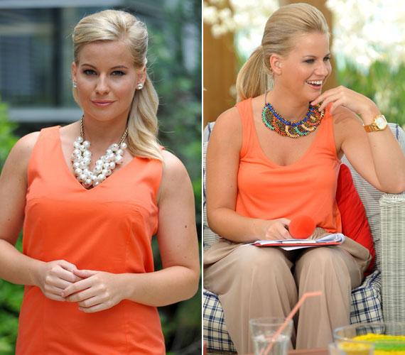 A csinos, szőke műsorvezetőnek remekül áll a narancsszín - elegánsabb alkalmakra szoknyaként, hétköznapra topként is megfelel, egy érdekes kiegészítővel.