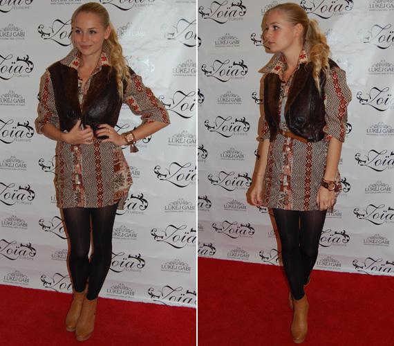 Iszak Eszter, a VIVA TV műsorvezetője az ősz divatos színeit öltötte magára.