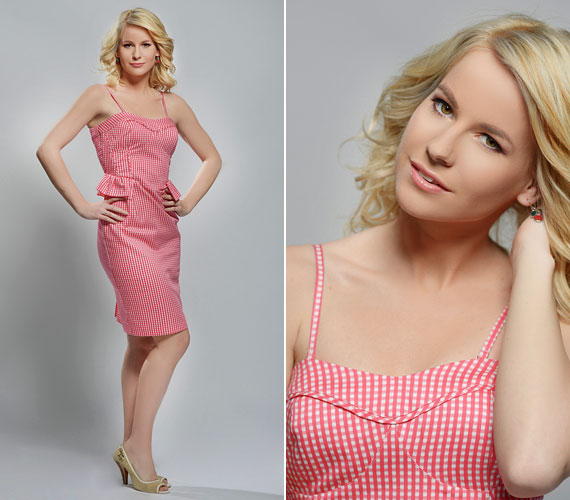 Szőke hajához kifejezetten előnyös a rózsaszín ruha.