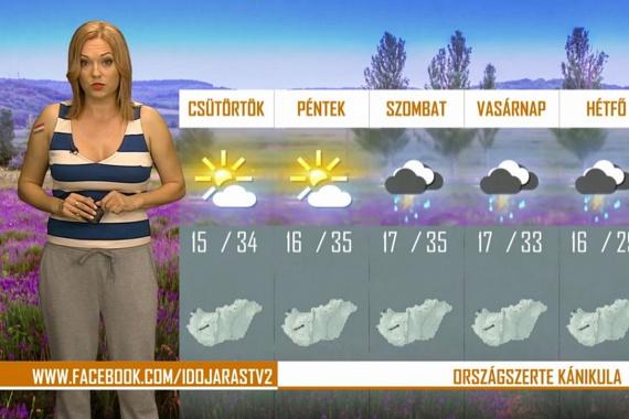 A TV2 dögös időjósa, Gaál Noémi szürke mackónadrágban mondta el, milyen időre számíthatunk.