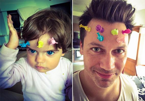 Kovács Áron tündéri kislányával játszott, amikor mókás képeket készített magukról: úgy látszik, ők is szeretnek bolondozni. A fotókat ő is Facebook-oldalán tette közzé.